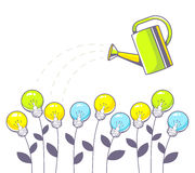 Vector illustration of growing color lightbulbs and green  Stock Images