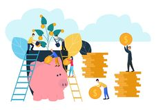 Vector illustration, growing a flower with coins and money, caring for a flower, watering coins, growing and making stock illustration