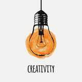 Vector illustration with grunge light bulb Stock Images