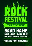 Vector illustration rock festival party flyer design template with text and flames. Vector illustration grunge metal rock festival party flyer design template stock illustration