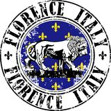Florence lion stamp. Vector illustration of grunge rubber stamp with symbol of Florence, Italy inside Stock Photography