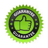 Guarantee label. Vector illustration of guarantee label with thumbs up sign. stamp or seal on isolated white background stock illustration