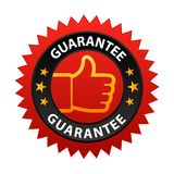 Guarantee label. Vector illustration of guarantee label with thumbs up sign. stamp or seal on isolated white background vector illustration