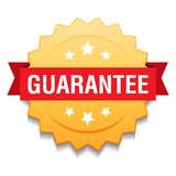 Guarantee seal. Vector illustration of guarantee seal golden star on isolated white background vector illustration