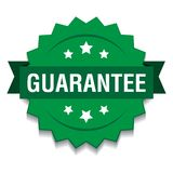 Guarantee seal. Vector illustration of guarantee seal green star on isolated white background stock illustration