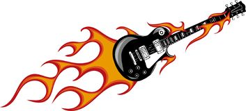 Vector illustration guitar with flames and fire vector illustration