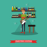 Vector illustration of guitarist playing electric guitar in flat style Stock Photos