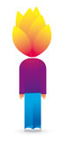 Head on fire / Hot ideas. Vector illustration of guy with his head on fire Stock Image