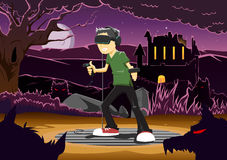 Vector illustration of guy playing horror game via VR headset Royalty Free Stock Images