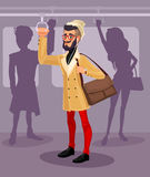 Vector illustration guy in a public transport Royalty Free Stock Photo