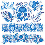 Vector illustration with gzhel floral motif in traditional Russian style  on white and ornate flowers and leaves Stock Photo