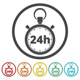 Vector illustration of 24h stopwatch icon. Vector icon royalty free illustration