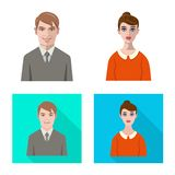 Vector design of hairstyle and profession icon. Collection of hairstyle and character vector icon for stock. Vector illustration of hairstyle and profession stock illustration
