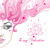 Vector illustration of half dotted beautiful girl face with hearts and pink curly hair isolated on white. Romantic holiday Valentines background in dotwork Royalty Free Stock Photography