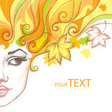 Vector illustration of half dotted beautiful girl face and maple leaves Stock Photo
