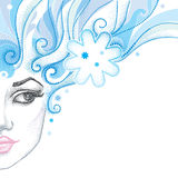 Vector illustration of half dotted beautiful girl face with snowflake and blue curly hair isolated on white. Stock Photography