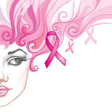 Vector illustration of half dotted girl face with pink ribbon  on white background. Stock Image