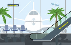 Vector illustration. Hall Airport. Interior hall of the airport. The large window is visible plane stock illustration