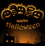 Vector illustration of Halloween Background with Pumpkin Royalty Free Stock Image
