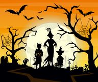 Vector illustration of Halloween background with silhouettes of children trick in Halloween costume. Halloween postcard royalty free illustration