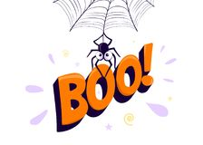 Vector illustration of halloween boo. Spider hanging from web and holding sign. Vector illustration of halloween boo. Cartoon spider hanging from web and holding Royalty Free Stock Photo