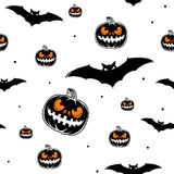 Vector illustration of halloween celebration seamless pattern Stock Photos