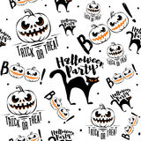 Vector illustration of halloween celebration seamless pattern Stock Images