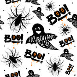 Vector illustration of halloween celebration seamless pattern Royalty Free Stock Photos