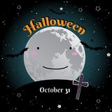 Halloween cute fool moon greeting card design. Vector illustration. royalty free illustration