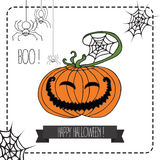 Vector Illustration of Halloween Design Elements. Image with pumpkin, we and spiders. Hand draw illustrartion. Halloween background of cheerful pumpkins Royalty Free Stock Photography