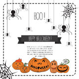 Vector Illustration of Halloween Design Elements. Image with pumpkin, we and spiders. Hand draw illustrartion. Halloween background of cheerful pumpkins Royalty Free Stock Photo
