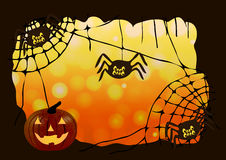 Vector illustration. Halloween. The frame of the web, spiders and pumpkin. Stock Photography