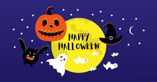 Full moon, bat, hat, evil pumpkin, ghosts for Halloween party. royalty free illustration