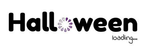 Vector illustration. Halloween loading. Download. Load wheel. violet ghost. Vector illustration. Halloween loading. Download. Black text on white background royalty free illustration