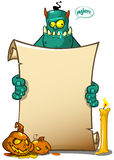 Vector illustration of a Halloween monster character holding a scroll sign or banner. Royalty Free Stock Images