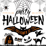 Vector illustration of halloween party celebration poster Royalty Free Stock Photos