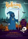 Death with scythe. Halloween party invitation. Vector illustration Halloween party flyer. Halloween party invitation with pumpkins, death with scythe, skull royalty free illustration