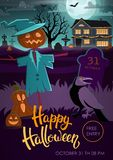 Halloween party flyer with scarecrow, crow, pumpkins vector illustration