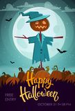 Scary scarecrow. Halloween flyer. royalty free illustration