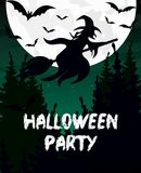 Vector illustration Halloween party invitation or greeting card. Witch silhouette, broomstick, bat and moon are dark sky. Background vector illustration