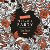 Halloween party invitation. Vintage floral anatomy background. Vector illustration stock illustration