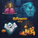 Vector illustration Halloween party set items vector illustration