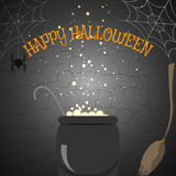 Vector illustration of Halloween poster with broom, cauldron, spider on the cracked background. Stock Photography
