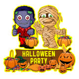 Halloween poster design with vector zombie and mummy character. Vector illustration Halloween poster design with vector zombie and mummy character stock illustration
