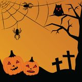 Vector illustration for Halloween. Pumpkin, crosses, cobwebs, sp Royalty Free Stock Photos