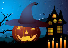 Vector illustration. Halloween. Pumpkin hat with candles on a background of an old house. Stock Images