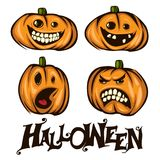 Halloween pumpkins mascot set. Vector illustration of Halloween pumpkins. Good for icons, stickers, posters, invitation and greeting cards Royalty Free Stock Photography