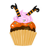 Vector illustration of halloween purple cupcake on white background. Happy halloween scary sweets 1.2 Stock Images
