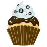 Vector illustration of halloween purple cupcake on white background. Happy halloween scary sweets 1.2 Royalty Free Stock Photo