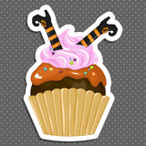Vector illustration of halloween purple cupcake on white background. Happy halloween scary sweets 1.2 Royalty Free Stock Images